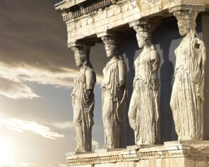 Caryatids, erechtheum temple on Acropolis of Athens, Greece